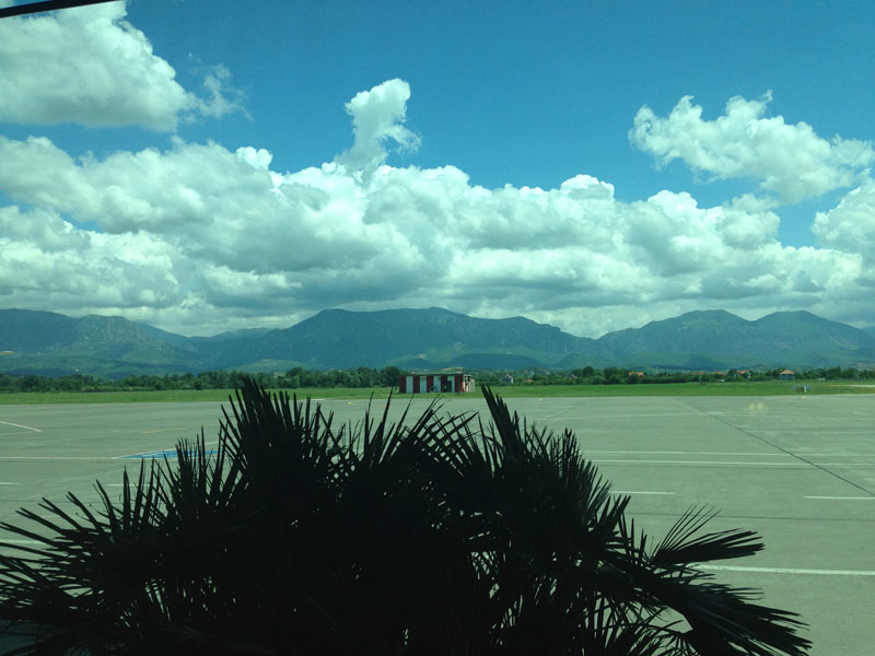 Our view as we were entering the Tirana airport terminal